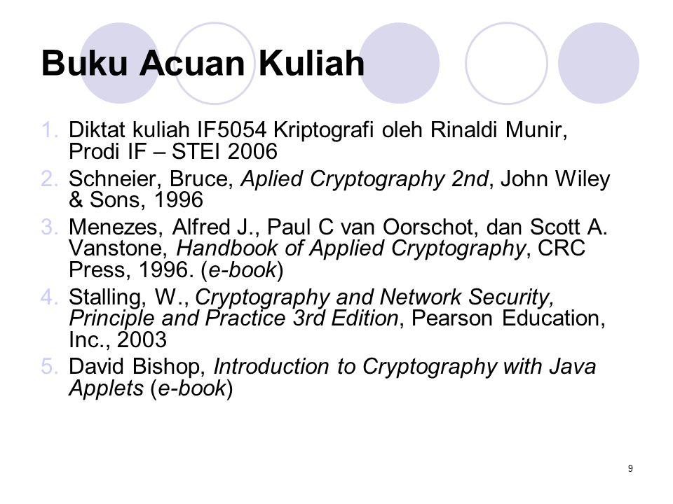 9 Buku Acuan Kuliah 1.Diktat kuliah IF5054 Kriptografi oleh Rinaldi Munir, Prodi IF – STEI 2006 2.Schneier, Bruce, Aplied Cryptography 2nd, John Wiley