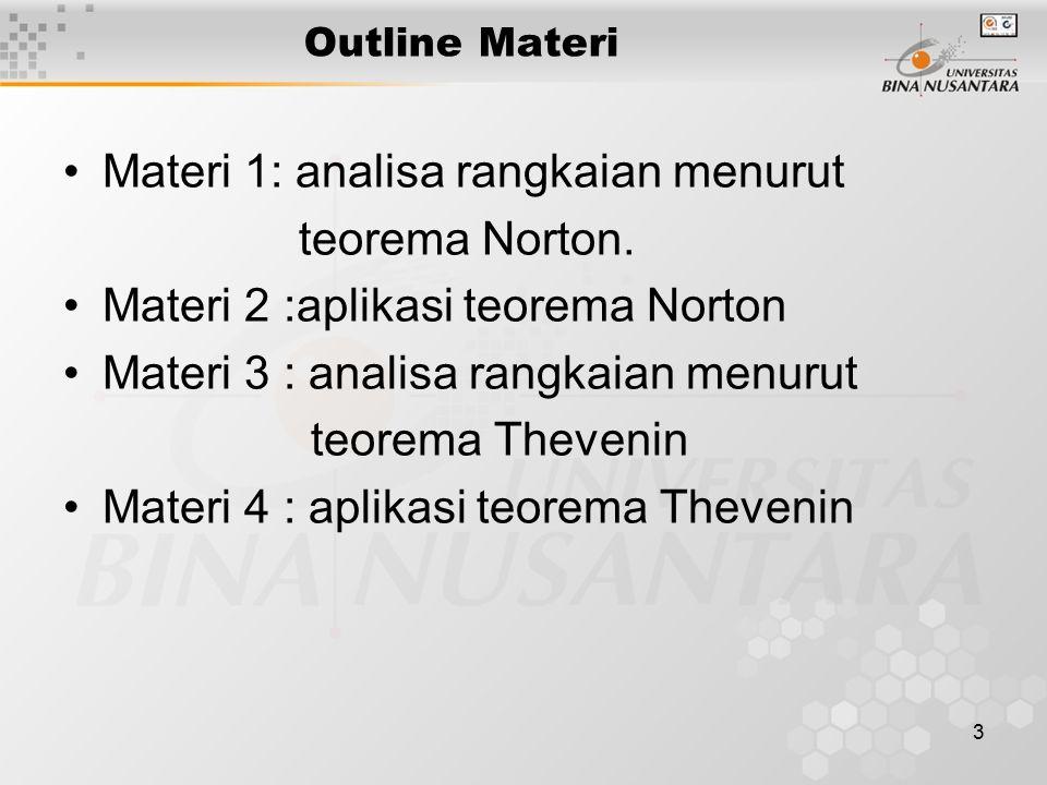 3 Outline Materi Materi 1: analisa rangkaian menurut teorema Norton.