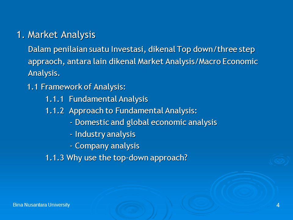 Bina Nusantara University 4 1. Market Analysis 1. Market Analysis Dalam penilaian suatu Investasi, dikenal Top down/three step Dalam penilaian suatu I