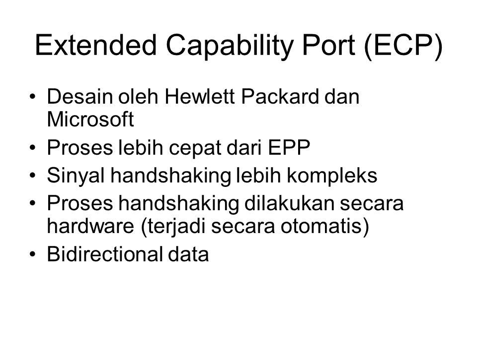 Extended Capability Port (ECP) Desain oleh Hewlett Packard dan Microsoft Proses lebih cepat dari EPP Sinyal handshaking lebih kompleks Proses handshaking dilakukan secara hardware (terjadi secara otomatis) Bidirectional data