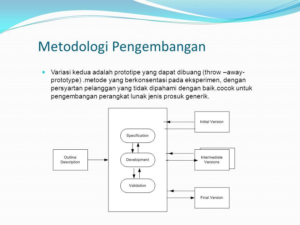 Metodologi Pengembangan Variasi kedua adalah prototipe yang dapat dibuang (throw –away- prototype).metode yang berkonsentasi pada eksperimen, dengan p