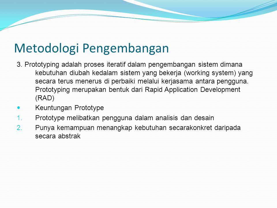 Metodologi Pengembangan 3. Prototyping adalah proses iteratif dalam pengembangan sistem dimana kebutuhan diubah kedalam sistem yang bekerja (working s
