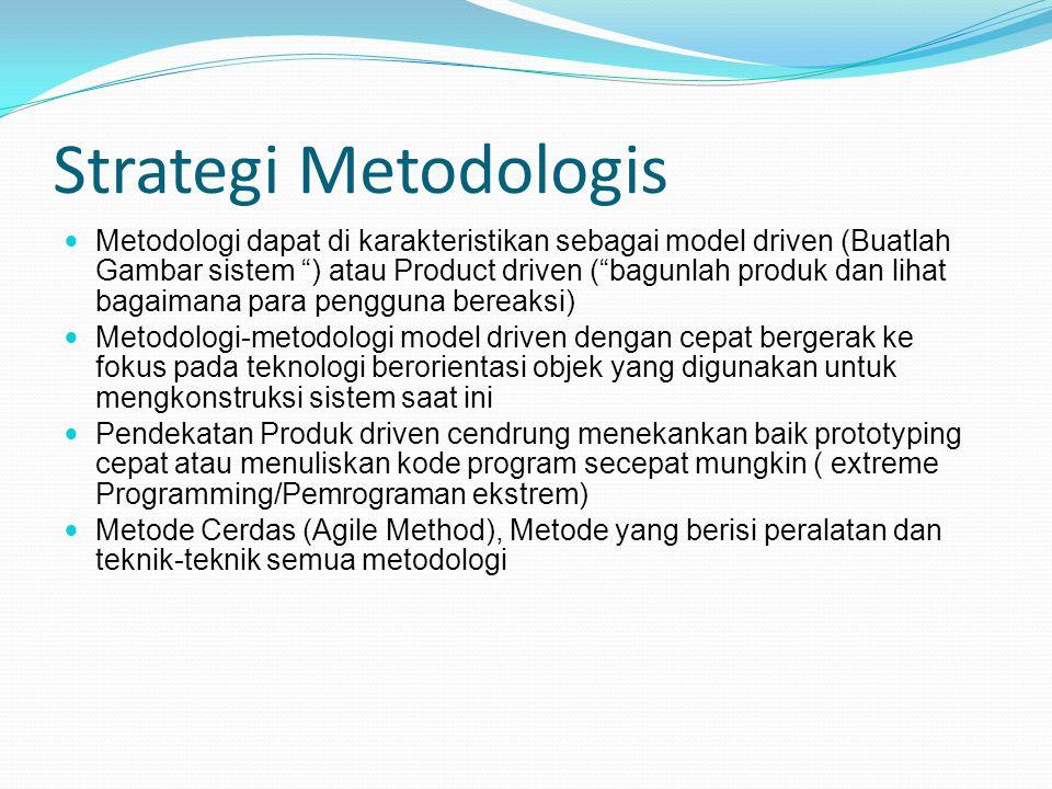 """Strategi Metodologis Metodologi dapat di karakteristikan sebagai model driven (Buatlah Gambar sistem """") atau Product driven (""""bagunlah produk dan liha"""