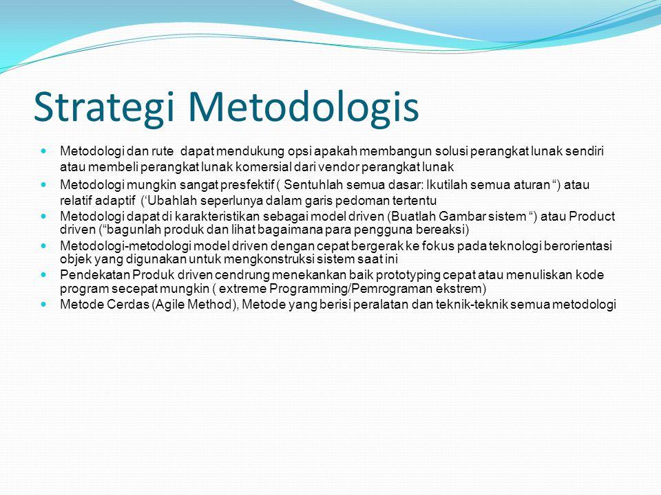 Strategi Metodologis Metodologi dan rute dapat mendukung opsi apakah membangun solusi perangkat lunak sendiri atau membeli perangkat lunak komersial d