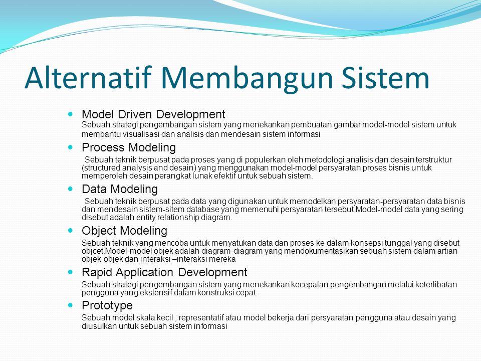 Alternatif Membangun Sistem Model Driven Development Sebuah strategi pengembangan sistem yang menekankan pembuatan gambar model-model sistem untuk mem
