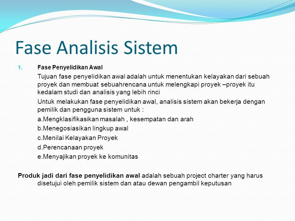 Fase Analisis Sistem 1. Fase Penyelidikan Awal Tujuan fase penyelidikan awal adalah untuk menentukan kelayakan dari sebuah proyek dan membuat sebuahre