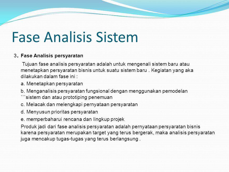 Fase Analisis Sistem 3. Fase Analisis persyaratan Tujuan fase analisis persyaratan adalah untuk mengenali sistem baru atau menetapkan persyaratan bisn