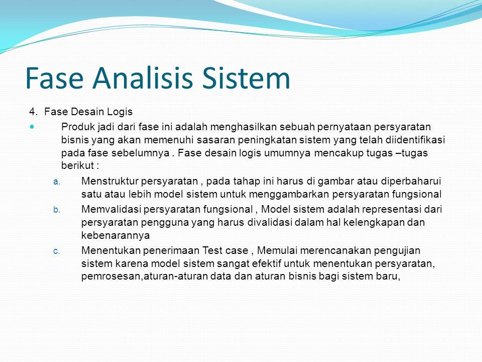 Fase Analisis Sistem 4. Fase Desain Logis Produk jadi dari fase ini adalah menghasilkan sebuah pernyataan persyaratan bisnis yang akan memenuhi sasara