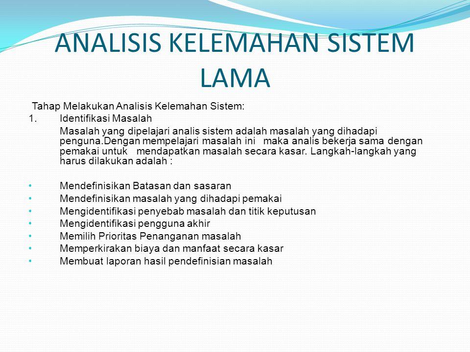 ANALISIS KELEMAHAN SISTEM LAMA Tahap Melakukan Analisis Kelemahan Sistem: 1. Identifikasi Masalah Masalah yang dipelajari analis sistem adalah masalah