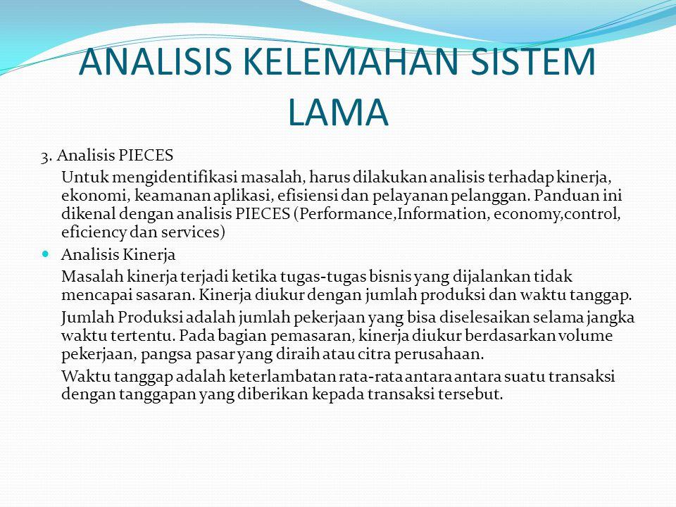 ANALISIS KELEMAHAN SISTEM LAMA 3. Analisis PIECES Untuk mengidentifikasi masalah, harus dilakukan analisis terhadap kinerja, ekonomi, keamanan aplikas