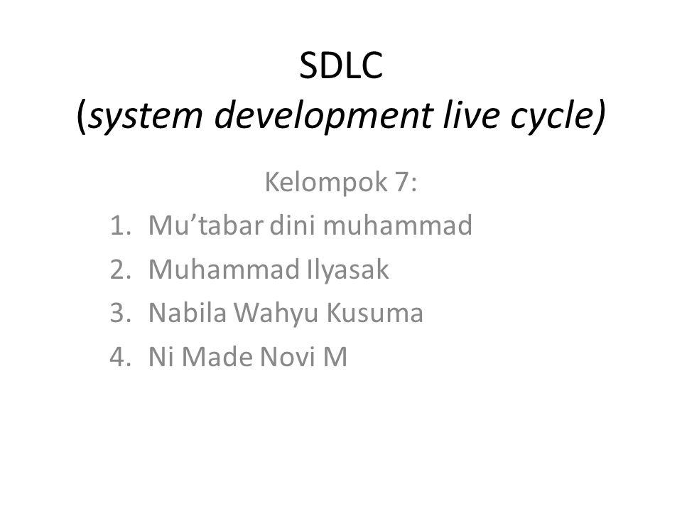 SDLC (system development live cycle) Kelompok 7: 1.Mu'tabar dini muhammad 2.Muhammad Ilyasak 3.Nabila Wahyu Kusuma 4.Ni Made Novi M