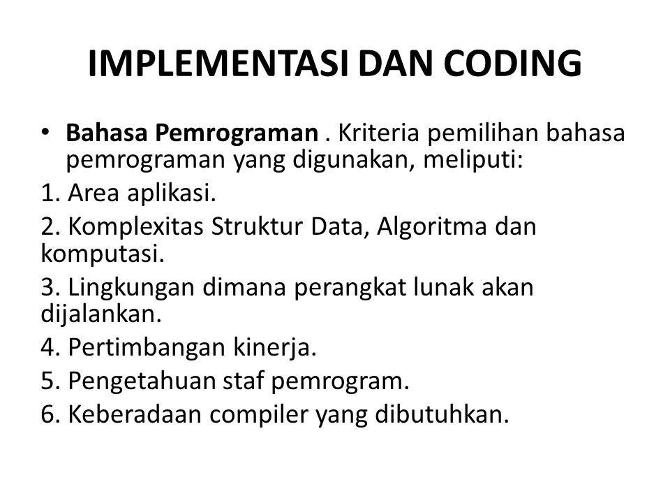 IMPLEMENTASI DAN CODING Bahasa Pemrograman.