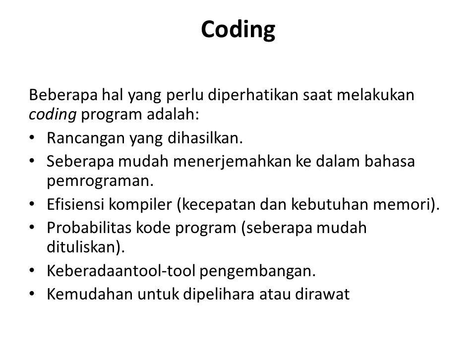 Coding Beberapa hal yang perlu diperhatikan saat melakukan coding program adalah: Rancangan yang dihasilkan.