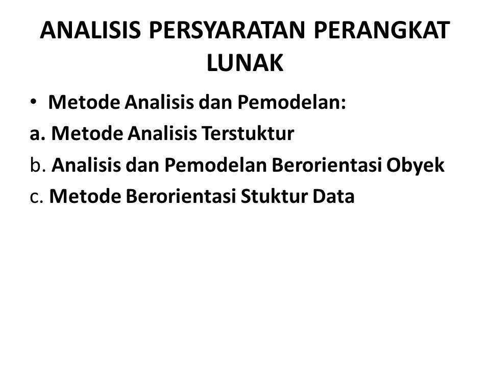 ANALISIS PERSYARATAN PERANGKAT LUNAK Metode Analisis dan Pemodelan: a.