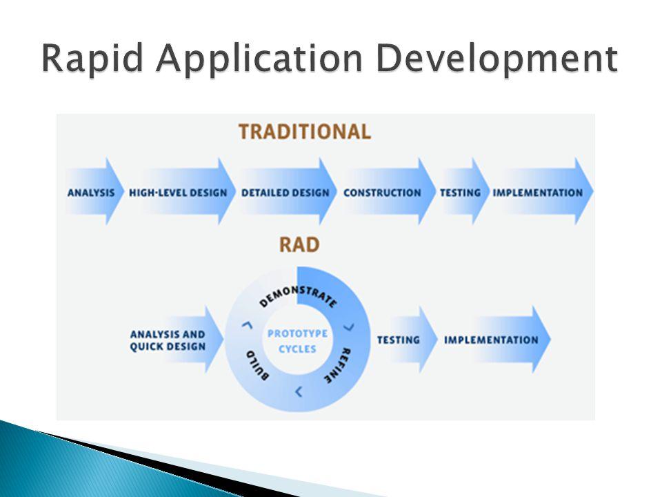  4 unsur penting RAD ◦ Manajemen  Pimpinan perusahaan ◦ Orang (tim)  Melibatkan banyak orang ◦ Metodologi  Siklus RAD ◦ Tools  Software, RPL