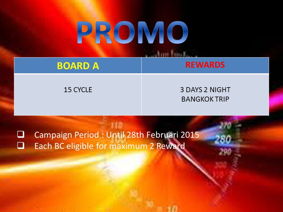 BOARD A REWARDS 15 CYCLE3 DAYS 2 NIGHT BANGKOK TRIP  Campaign Period : Until 28th Februari 2015  Each BC eligible for maximum 2 Reward