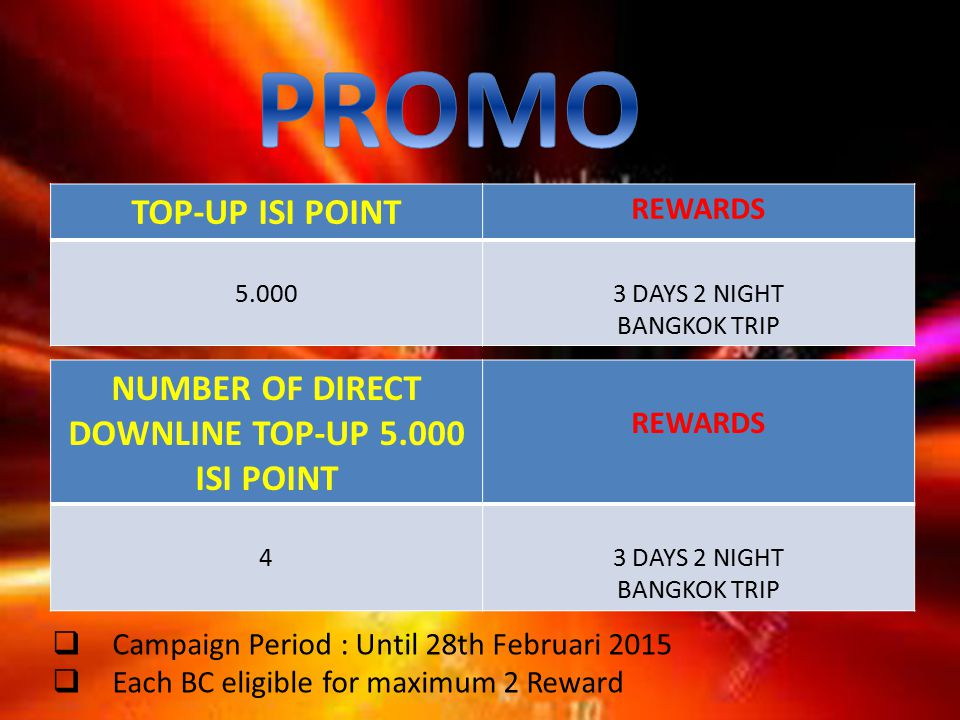 TOP-UP ISI POINT REWARDS 5.0003 DAYS 2 NIGHT BANGKOK TRIP  Campaign Period : Until 28th Februari 2015  Each BC eligible for maximum 2 Reward NUMBER OF DIRECT DOWNLINE TOP-UP 5.000 ISI POINT REWARDS 43 DAYS 2 NIGHT BANGKOK TRIP