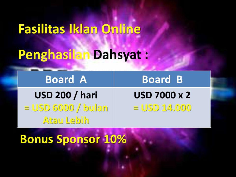 Fasilitas Iklan Online Penghasilan Dahsyat : Board ABoard B USD 200 / hari = USD 6000 / bulan Atau Lebih USD 7000 x 2 = USD 14.000 Bonus Sponsor 10%