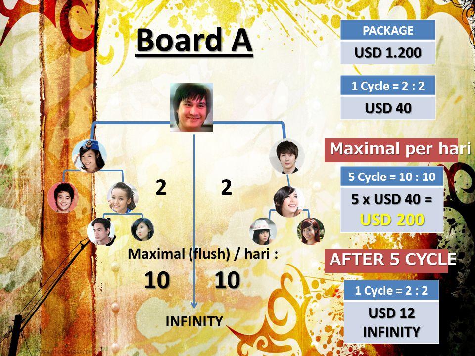 Board ABoard B Potensi Income USD200 / hari = USD 6000 / bulan atau lebih Potensi Income 2 x USD7.000 = USD 14.000