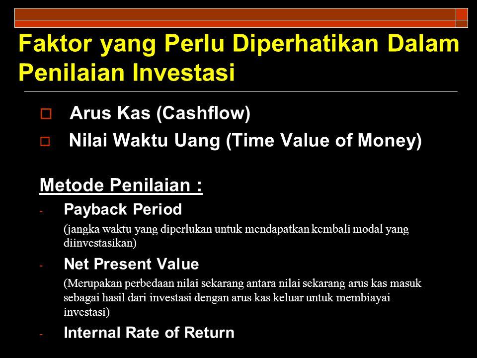 Faktor yang Perlu Diperhatikan Dalam Penilaian Investasi  Arus Kas (Cashflow)  Nilai Waktu Uang (Time Value of Money) Metode Penilaian : - Payback Period (jangka waktu yang diperlukan untuk mendapatkan kembali modal yang diinvestasikan) - Net Present Value (Merupakan perbedaan nilai sekarang antara nilai sekarang arus kas masuk sebagai hasil dari investasi dengan arus kas keluar untuk membiayai investasi) - Internal Rate of Return
