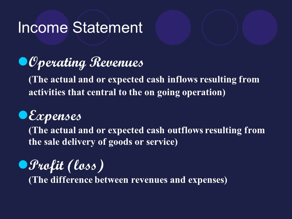 Income Statement Operating Revenues (The actual and or expected cash inflows resulting from activities that central to the on going operation) Expense