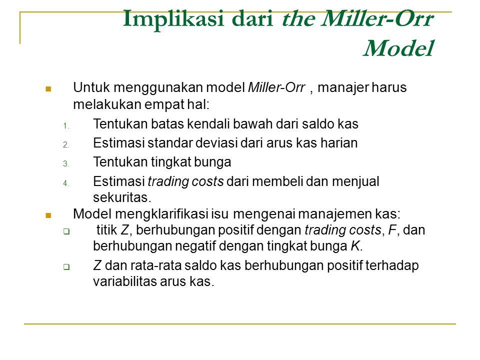 Untuk menggunakan model Miller-Orr, manajer harus melakukan empat hal: 1. Tentukan batas kendali bawah dari saldo kas 2. Estimasi standar deviasi dari