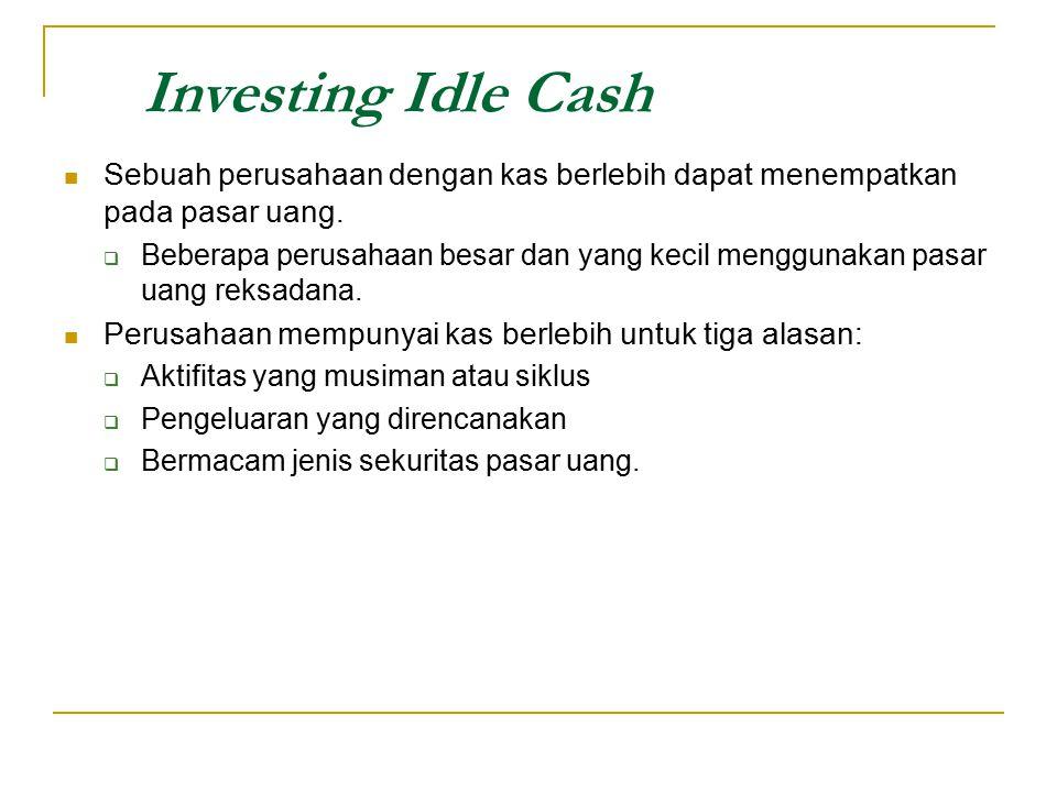 Investing Idle Cash Sebuah perusahaan dengan kas berlebih dapat menempatkan pada pasar uang.  Beberapa perusahaan besar dan yang kecil menggunakan pa