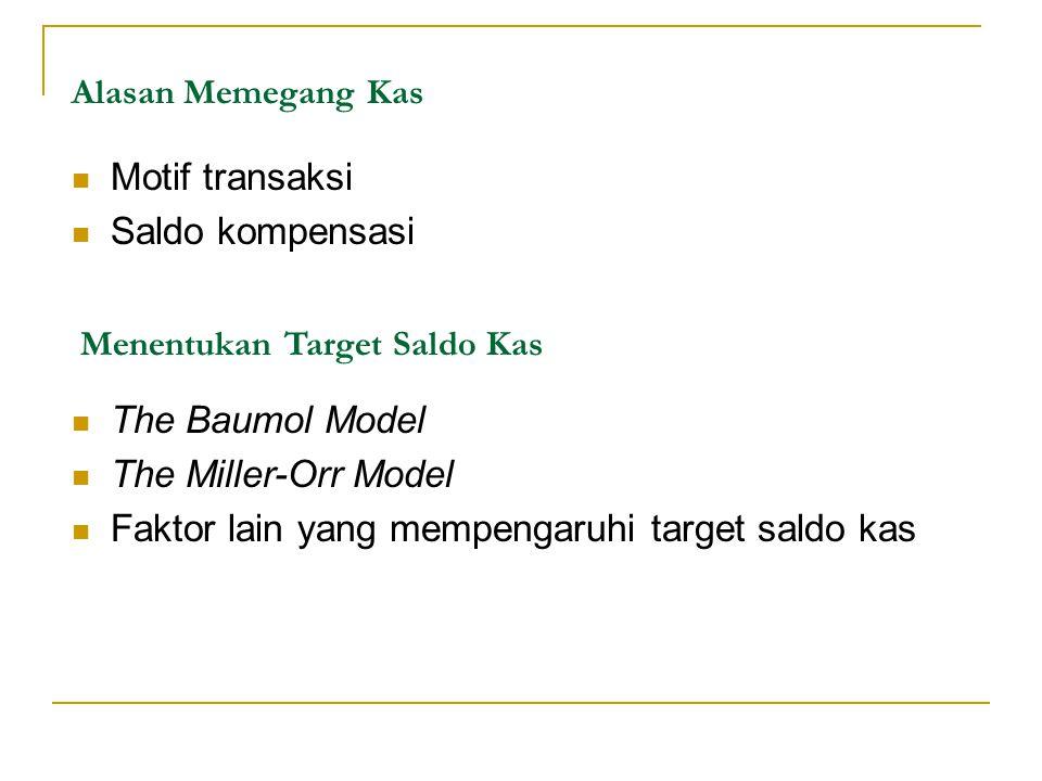 Alasan Memegang Kas Motif transaksi Saldo kompensasi Menentukan Target Saldo Kas The Baumol Model The Miller-Orr Model Faktor lain yang mempengaruhi t