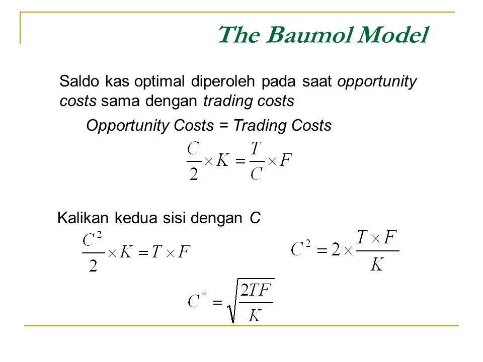 The Baumol Model Saldo kas optimal diperoleh pada saat opportunity costs sama dengan trading costs Kalikan kedua sisi dengan C Opportunity Costs = Tra