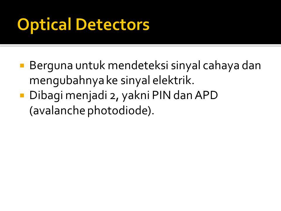  Berguna untuk mendeteksi sinyal cahaya dan mengubahnya ke sinyal elektrik.  Dibagi menjadi 2, yakni PIN dan APD (avalanche photodiode).
