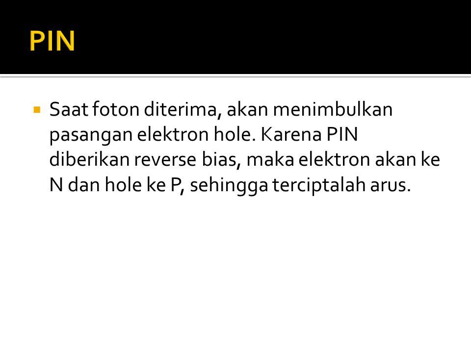  Saat foton diterima, akan menimbulkan pasangan elektron hole. Karena PIN diberikan reverse bias, maka elektron akan ke N dan hole ke P, sehingga ter