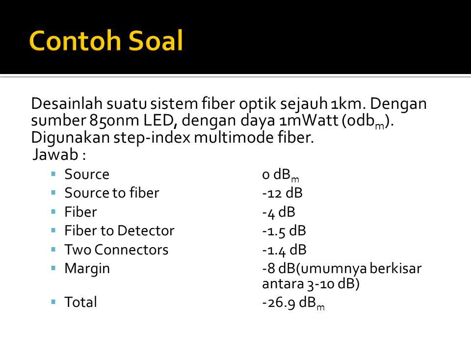 Desainlah suatu sistem fiber optik sejauh 1km. Dengan sumber 850nm LED, dengan daya 1mWatt (0db m ). Digunakan step-index multimode fiber. Jawab :  S