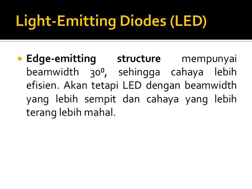  Edge-emitting structure mempunyai beamwidth 30⁰, sehingga cahaya lebih efisien. Akan tetapi LED dengan beamwidth yang lebih sempit dan cahaya yang l