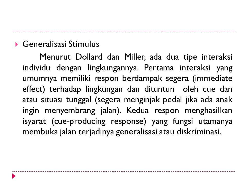  Generalisasi Stimulus Menurut Dollard dan Miller, ada dua tipe interaksi individu dengan lingkungannya. Pertama interaksi yang umumnya memiliki resp