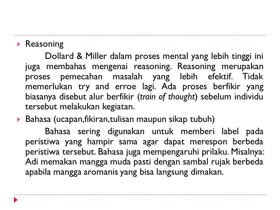  Reasoning Dollard & Miller dalam proses mental yang lebih tinggi ini juga membahas mengenai reasoning. Reasoning merupakan proses pemecahan masalah