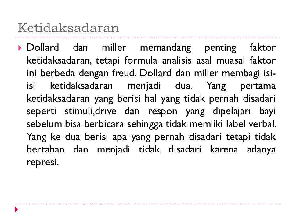Ketidaksadaran  Dollard dan miller memandang penting faktor ketidaksadaran, tetapi formula analisis asal muasal faktor ini berbeda dengan freud. Doll