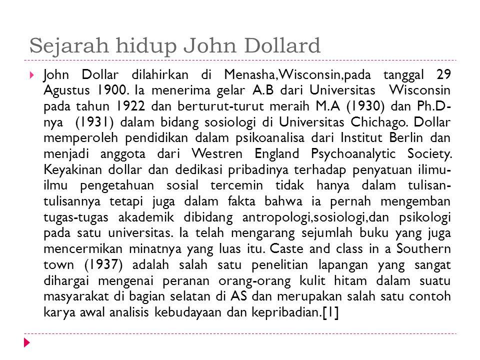 Sejarah hidup John Dollard  John Dollar dilahirkan di Menasha,Wisconsin,pada tanggal 29 Agustus 1900. Ia menerima gelar A.B dari Universitas Wisconsi