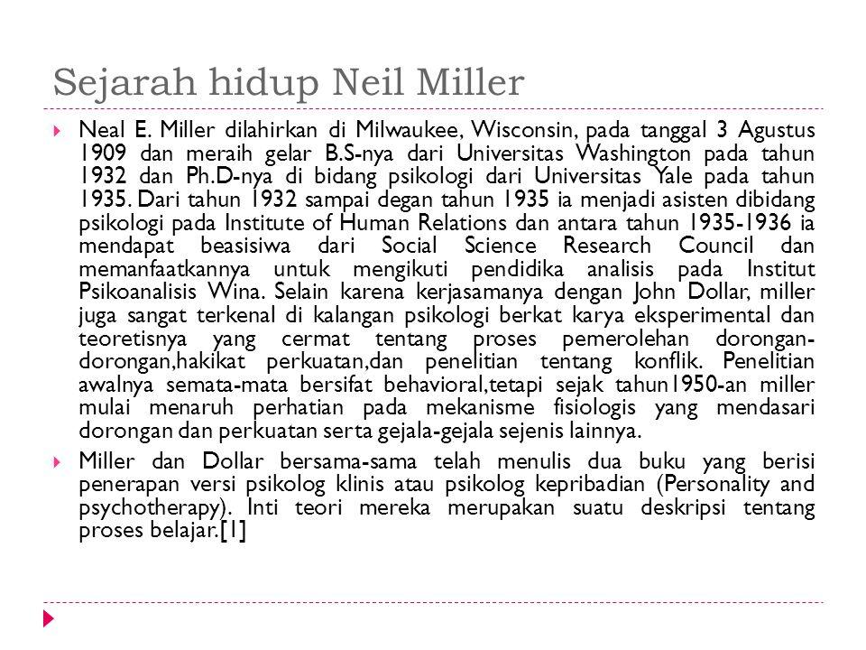 Sejarah hidup Neil Miller  Neal E. Miller dilahirkan di Milwaukee, Wisconsin, pada tanggal 3 Agustus 1909 dan meraih gelar B.S-nya dari Universitas W