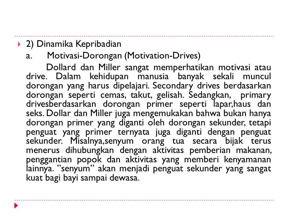 2) Dinamika Kepribadian a. Motivasi-Dorongan (Motivation-Drives) Dollard dan Miller sangat memperhatikan motivasi atau drive. Dalam kehidupan manusi
