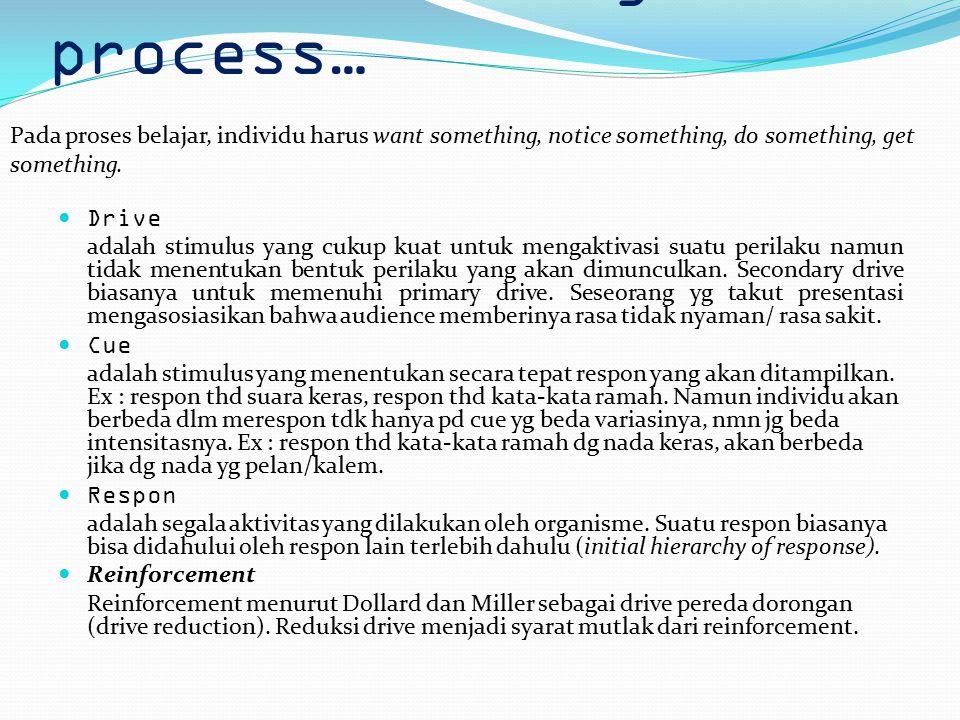 2. The learning process… Drive adalah stimulus yang cukup kuat untuk mengaktivasi suatu perilaku namun tidak menentukan bentuk perilaku yang akan dimu