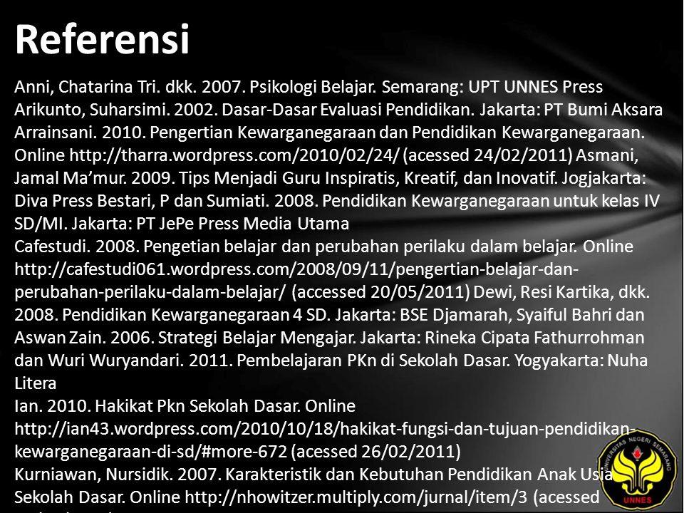 Referensi Anni, Chatarina Tri. dkk. 2007. Psikologi Belajar.