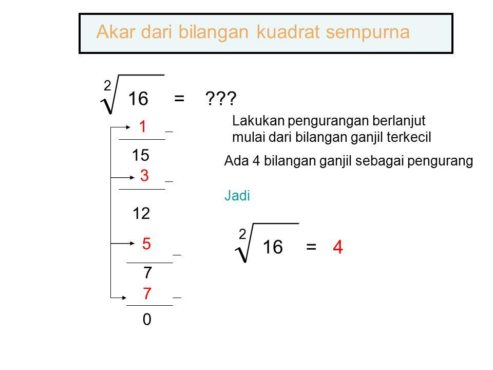 2 16=??? 1 15 3 12 5 7 7 0 Akar dari bilangan kuadrat sempurna Ada 4 bilangan ganjil sebagai pengurang Jadi 2 16=4 Lakukan pengurangan berlanjut mulai