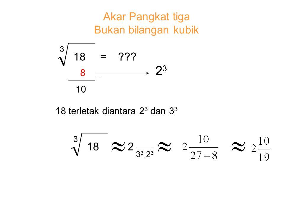 3 18=??? 8 10 Akar Pangkat tiga Bukan bilangan kubik 3 182 2323 18 terletak diantara 2 3 dan 3 3 3 3 -2 3