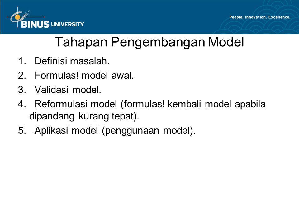 Tahapan Pengembangan Model 1. Definisi masalah. 2. Formulas! model awal. 3. Validasi model. 4. Reformulasi model (formulas! kembali model apabila dipa