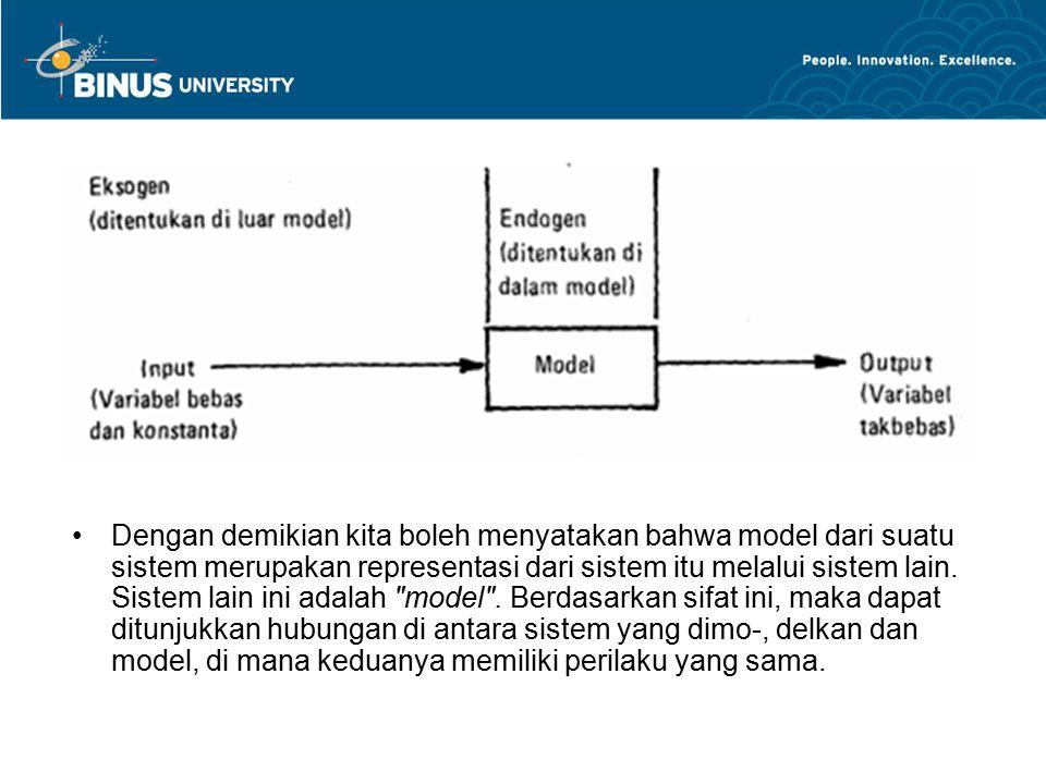 Dengan demikian kita boleh menyatakan bahwa model dari suatu sistem merupakan representasi dari sistem itu melalui sistem lain. Sistem lain ini adala