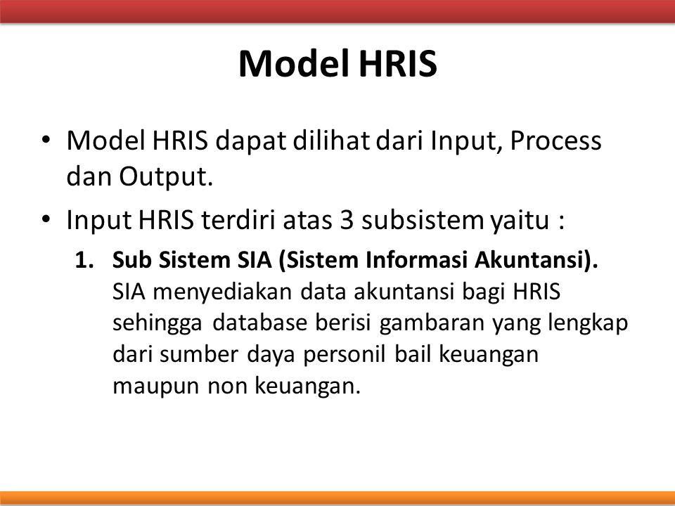 Model HRIS Model HRIS dapat dilihat dari Input, Process dan Output. Input HRIS terdiri atas 3 subsistem yaitu : 1.Sub Sistem SIA (Sistem Informasi Aku
