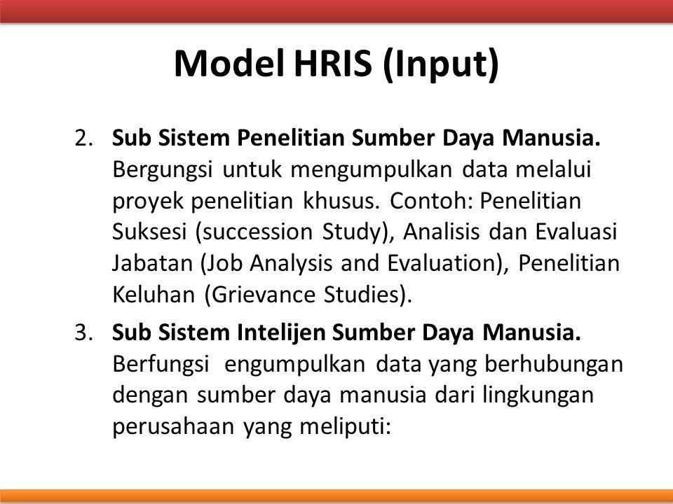 Model HRIS (Input) 2.Sub Sistem Penelitian Sumber Daya Manusia. Bergungsi untuk mengumpulkan data melalui proyek penelitian khusus. Contoh: Penelitian