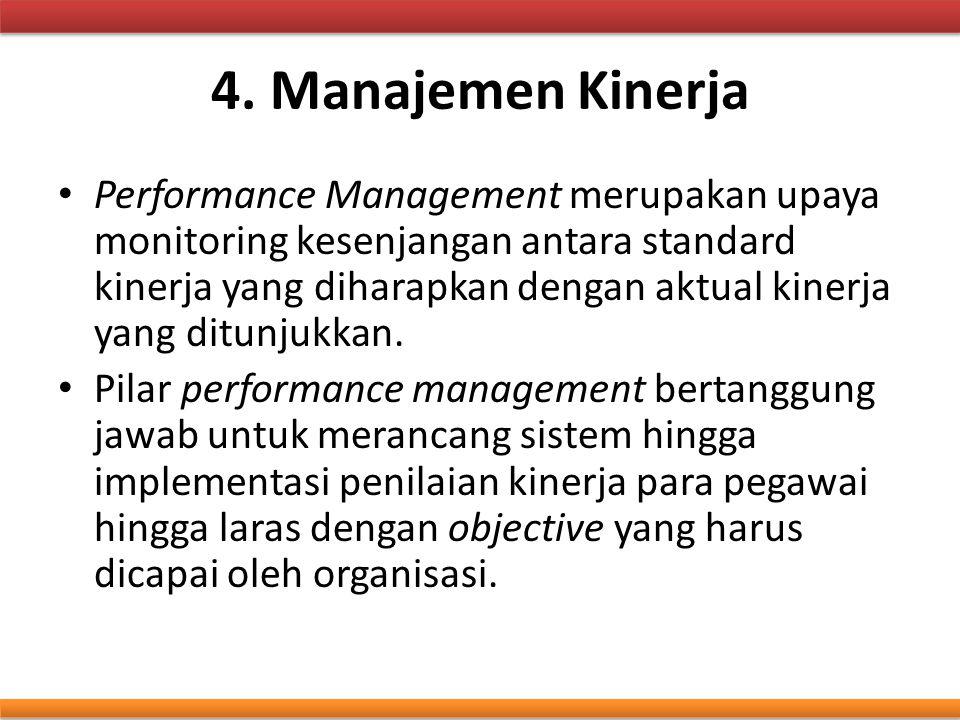 4. Manajemen Kinerja Performance Management merupakan upaya monitoring kesenjangan antara standard kinerja yang diharapkan dengan aktual kinerja yang