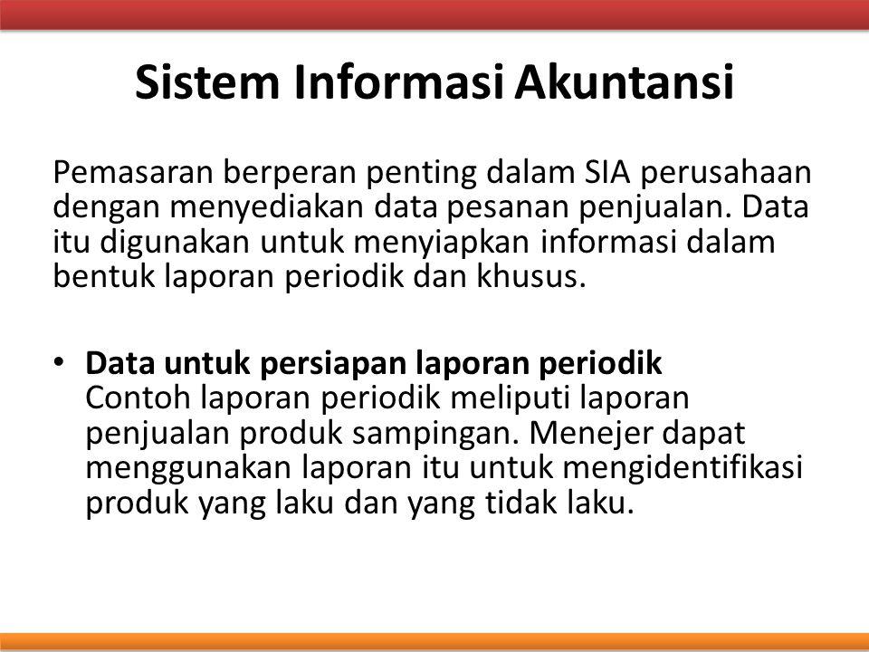 Sistem Informasi Akuntansi Pemasaran berperan penting dalam SIA perusahaan dengan menyediakan data pesanan penjualan. Data itu digunakan untuk menyiap