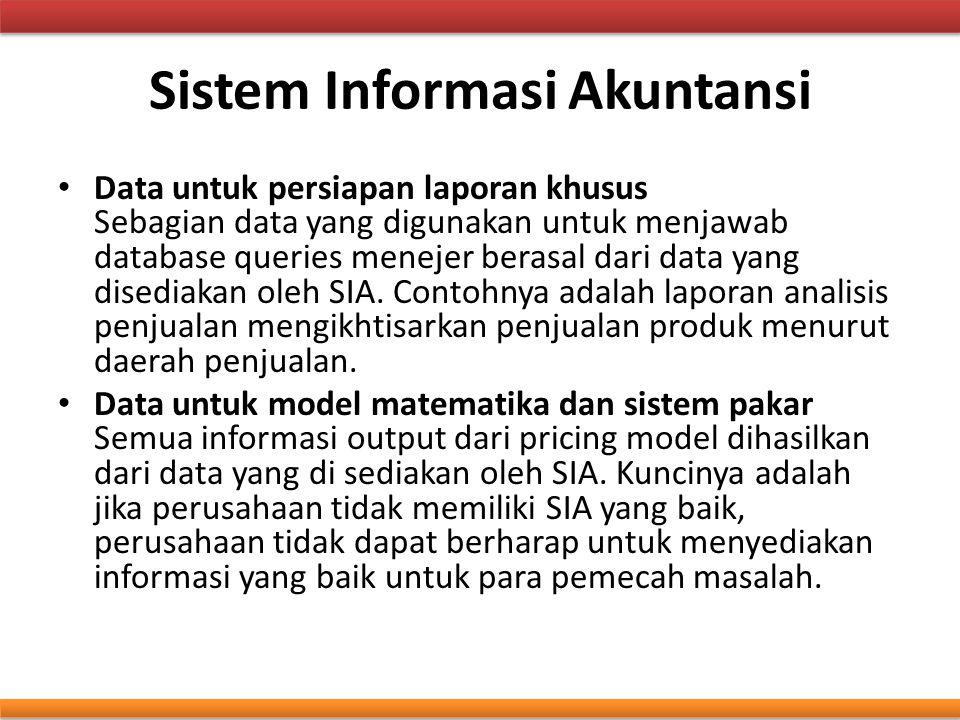 Sistem Informasi Akuntansi Data untuk persiapan laporan khusus Sebagian data yang digunakan untuk menjawab database queries menejer berasal dari data
